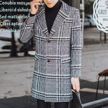 Fashion British Style Vintage Plaid Trench Coats Windbreaker Slim Fit Retro Long Jackets Mens Clothing Wool