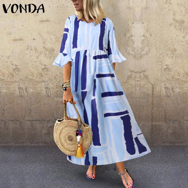 VONDA 2020 Summer Printed Dress Women Ruffle Half Sleeve Long Maternity Dress Casual Party Sundress Loose Bohemian Vestidos 5XL