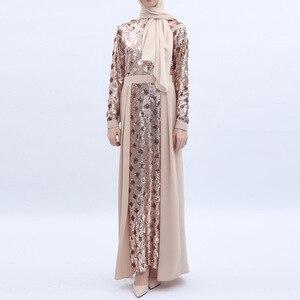 Image 2 - Women Dress Sequins Stitching Long Robe Abaya Jilbab Muslim Maxi Dresses Arabian Designer Elegant Party Robes Plus Size 2XL