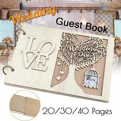 20 Вт, 30 Вт, 40 страниц деревенский деревянный Свадебный Гостевая книга персонализированные Дерево настраиваемый знак книга с парой теплых та...