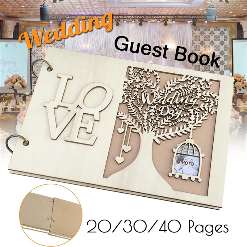 20/30/40 Pages Rustic Wooden Wedding Guest Book Alternative Personalized Tree Customized Sign Book With Couple's Photo Slot