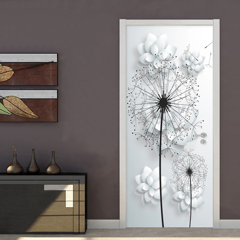 Self Adhesive Renew Home Decor 3d Door Sticker Dandelion Print Art Waterproof Wallpaper Mural Wardrobe Renovation Decal Picture