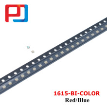 100pcs PULAR 0603 1615 0606 Vermelho Azul bi-color Claro Ultra Bright LED SMD 1616 0805 cor Bi 620-625/460-470nm