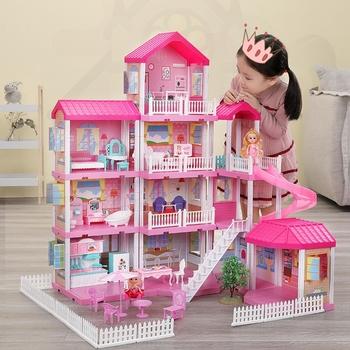 Zagraj w zabawki domowe domek dla lalek zestaw dom księżniczki zabawki domowe symulacja zamek księżniczki zestaw lalka meble domowe zabawka dla dziewczynek tanie i dobre opinie 2-4 lat 5-7 lat 8-11 lat CN (pochodzenie) Z tworzywa sztucznego none Dollhouses 3layer B12184YQ Unisex