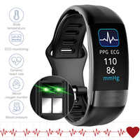 Смарт-браслет с контролем температуры тела, ЭКГ, фитнес-трекер, пульсометр, артериальное давление, умный Браслет для Android и IOS, 2020