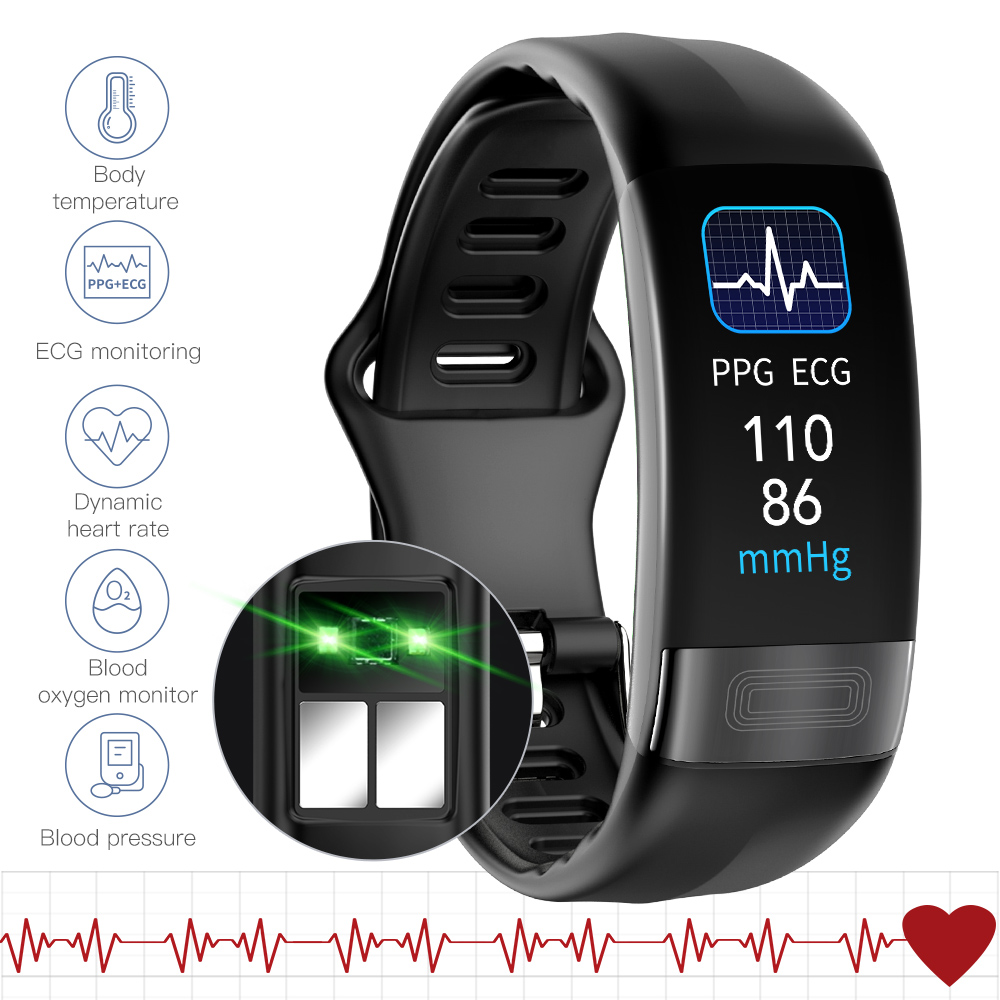 2020 ECG Smart Band Body Temperature Smart Bracelet Fitness Tracker Heart Rate Blood Pressure Smart Wristband For Android IOS