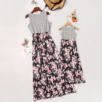Mother daughter dresses 2020 Parent Child Outfits Look Sleeveless Patchwork Floral Belt Long Dresses Family matching clothes Family Matching Outfits Kid (3+ years) Shop by Age Toddler (1-3 years)