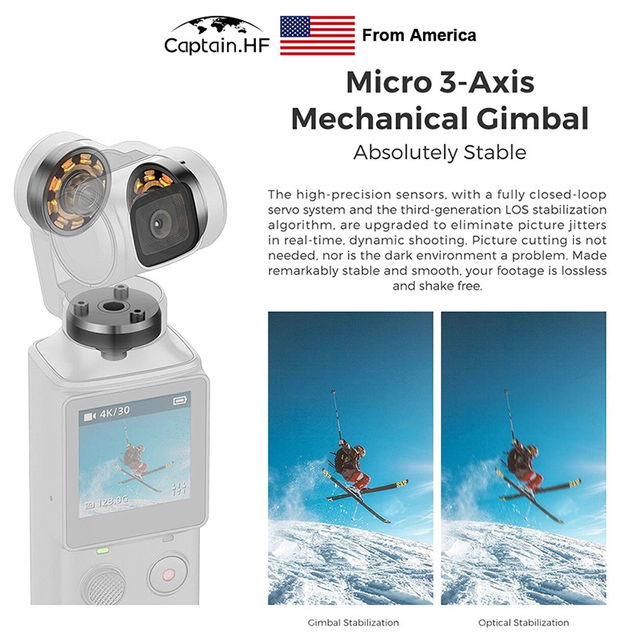 Capitaine américain WIFI Bluetooth PALM3-Axis 4K HD stabilisateur de caméra à cardan tenu dans la main 128 ° grand Angle piste intelligente caméra vidéo de poche