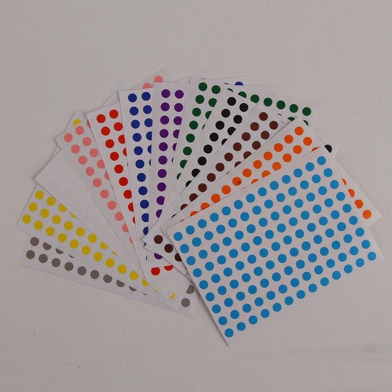 12pcs/set 6mm DIY Stickers Colorful Writing Round Sticker Dot Blank Self-adhesive Circle Paper Tag