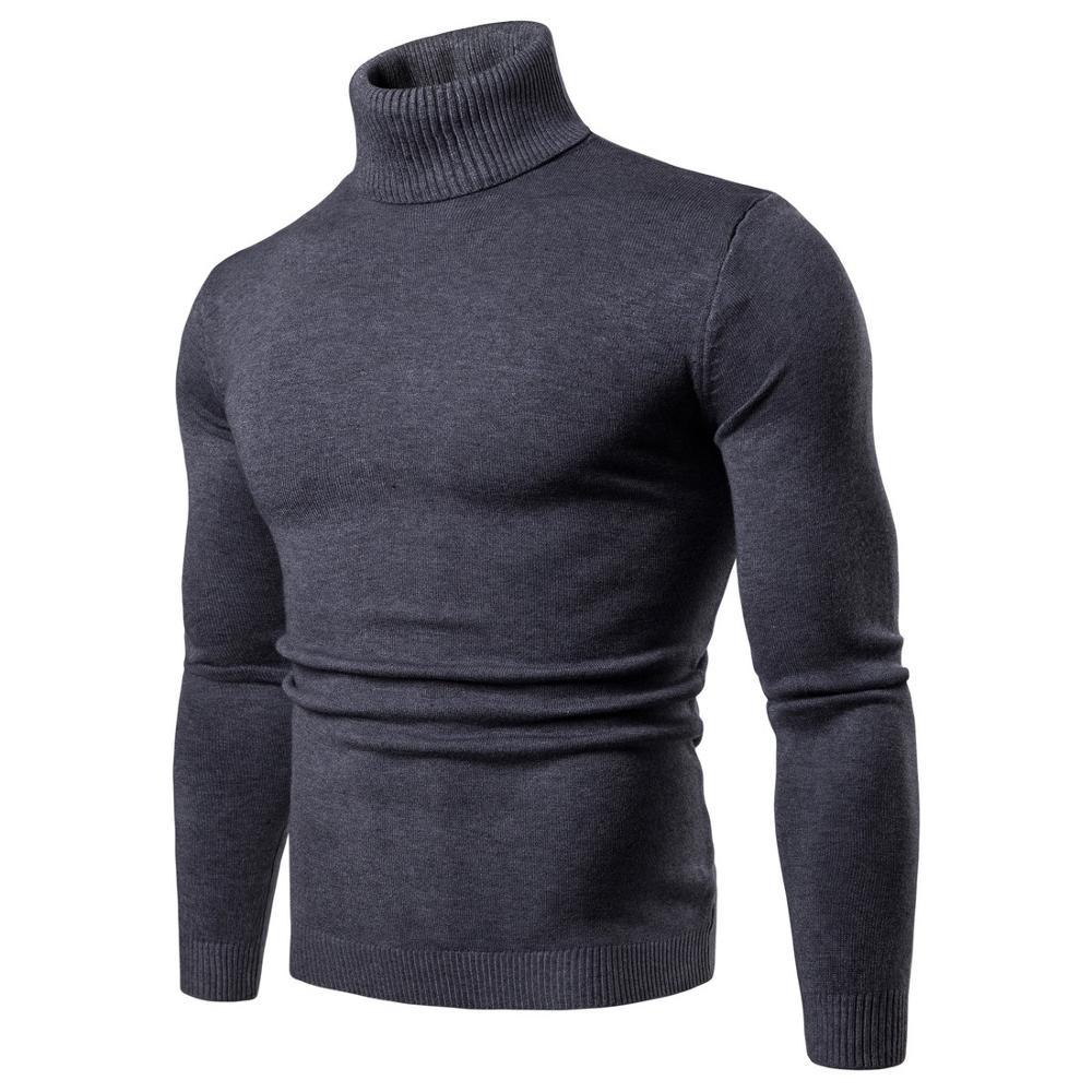 New Streetwear Men's Winter Warm Cotton High Neck Pullover Jumper
