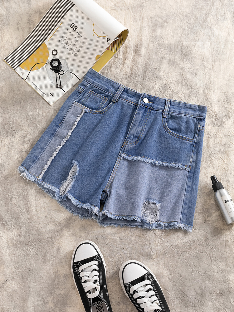Photo Shoot Fat Mm Summer Wear New Style 200 Large Size WOMEN'S Dress Cowboy Shorts Large GIRL'S Loose Pants Shorts Women's One-