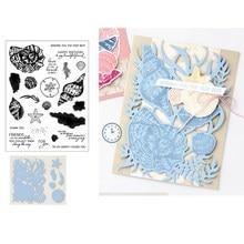 Conchas conch starfish letras de corte dados e selos claros scrapbook artesanato estêncil álbum de fotos papel diy fazer modelo decoração