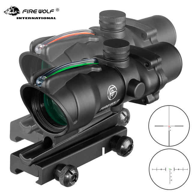 Fire Wolf Acog 4X32 Tactical RifleScope Real Fiber Green Red Dot Illuminated Etched Reticle Optical sight Crossbow for hunting 1