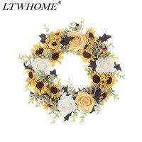 LTWHOME WHSF 12 Cal sztuczne Handmade wiosna lato wieniec z słoneczniki  róże i liści eukaliptusa do drzwi wejściowych  ścienne w Ściereczki do czyszczenia od Dom i ogród na