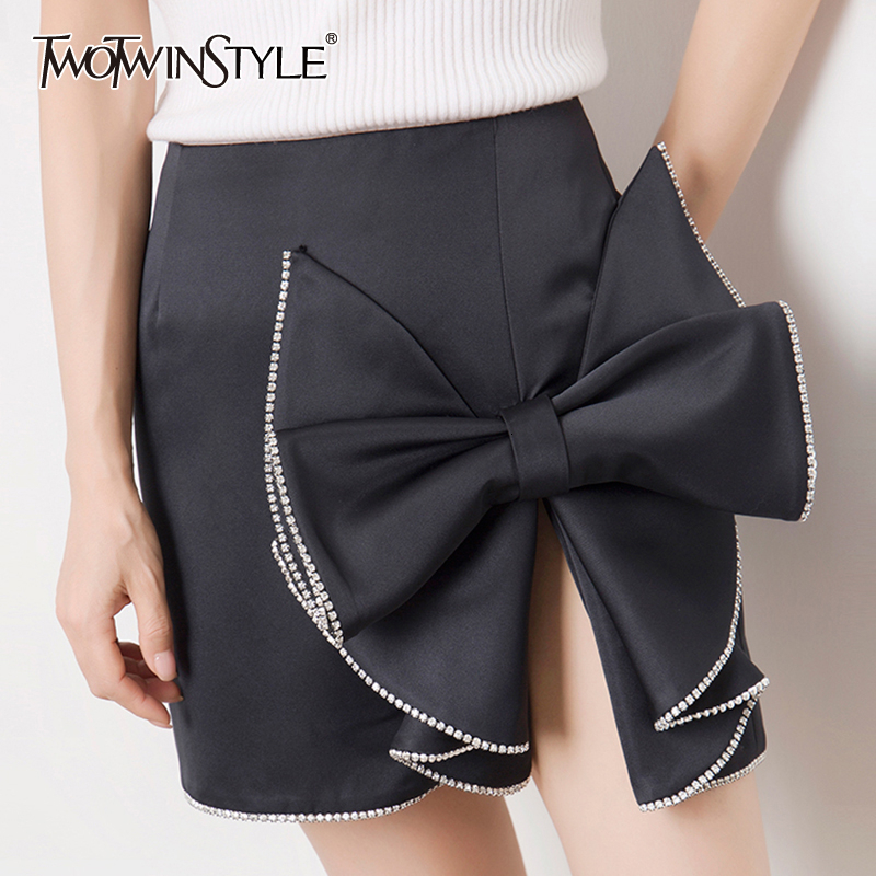 TWOTWINSTYLE Casual Asymmetrical Women's Skirts High Waist Patchwork Bow Ruched Skirt For Female Clothing 2019 Fashion Tide