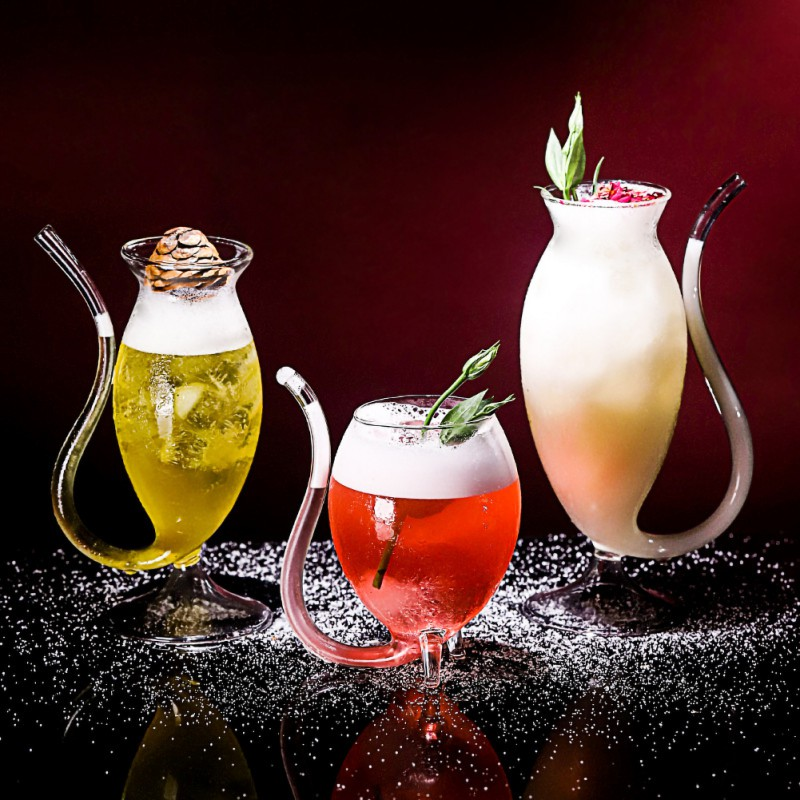 Glass Red Wine Glass Cup Whiskey Glass Heat Resistant Glass Sucking Juice Milk Cup  Wine Cup With Drinking Tube Straw Azl