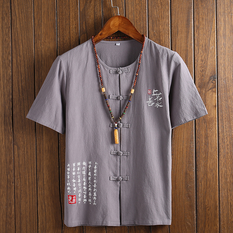 Chinese Clothes For Men T-Shirt Male Linen Cotton Loose Blouse Traditional Kung Fu Outfit Hanfu Coats Wu Shu Tee Tops