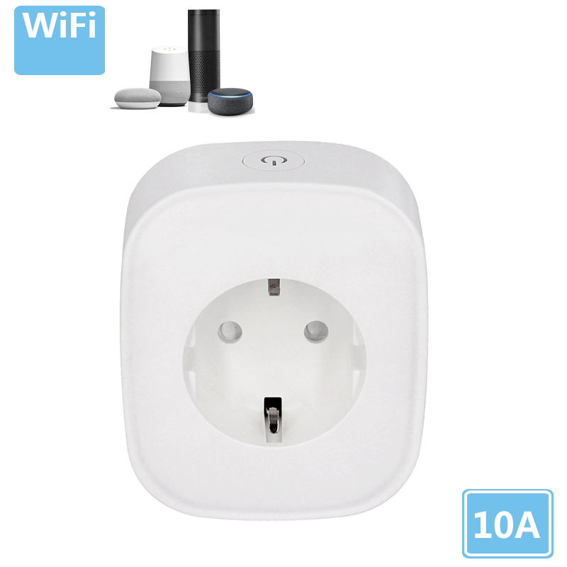 Tuya Wifi EU Plug Alexa Smart Power Socket Google Alexa Mobile APP Socket EU Type 10A