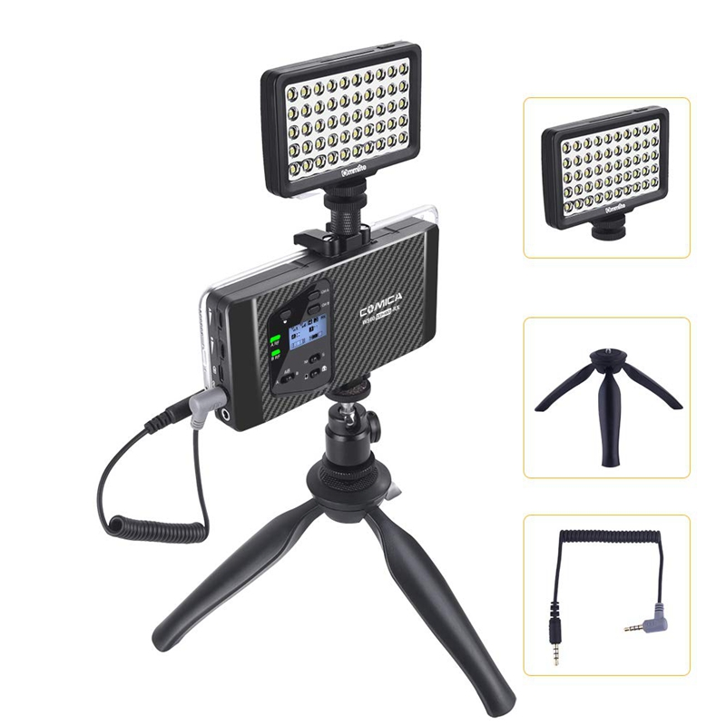 Comica Cvm Ws60 Mini Sistema de Microfone Sem Fio (Dois Transmissores Um Receptor) para Smartphones e Câmeras, uhf Canais 12 60 M - 5