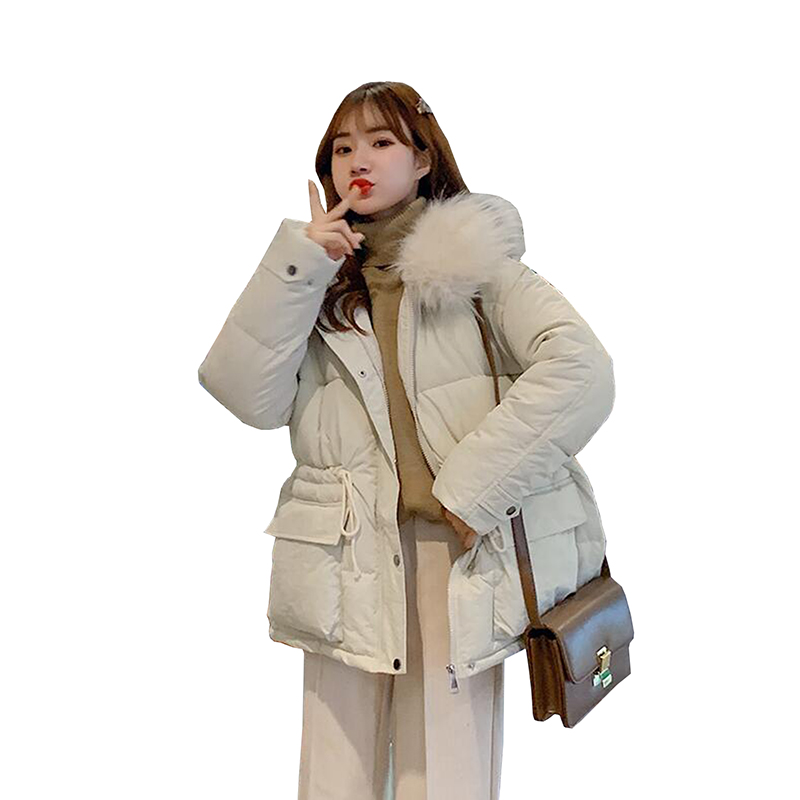 2019 New Fashion Women Winter Jacket Cotton Padded Thick Warm Loose Short Coat Women Jackets Fur collar Hooded   Parka   Mujer