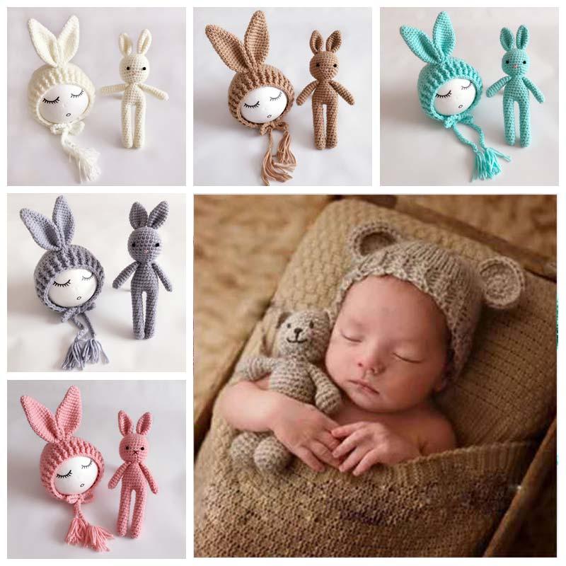 Knit Hat Wool Bunny Doll Long Ear Cap For Newborn Photography Props Girl Photo Shoot Accessories Fotografia Bonnet Photoshoot|Hats & Caps|   - AliExpress