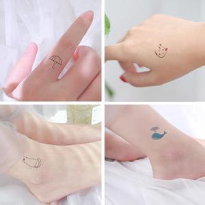 Image 5 - Autocollants de tatouage Style coréen, étiquettes Kawaii, fleurs arc en ciel, décoration, dessin animé, 30 feuilles/lot