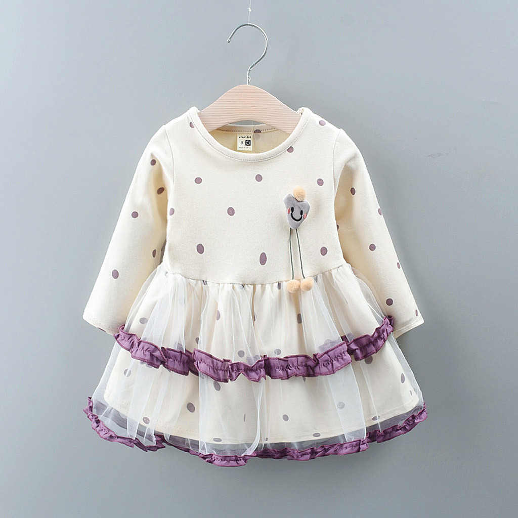 Baby Girl Dress Kids Dot Print Bow Tulle Long Sleeve Party Princess Clothing