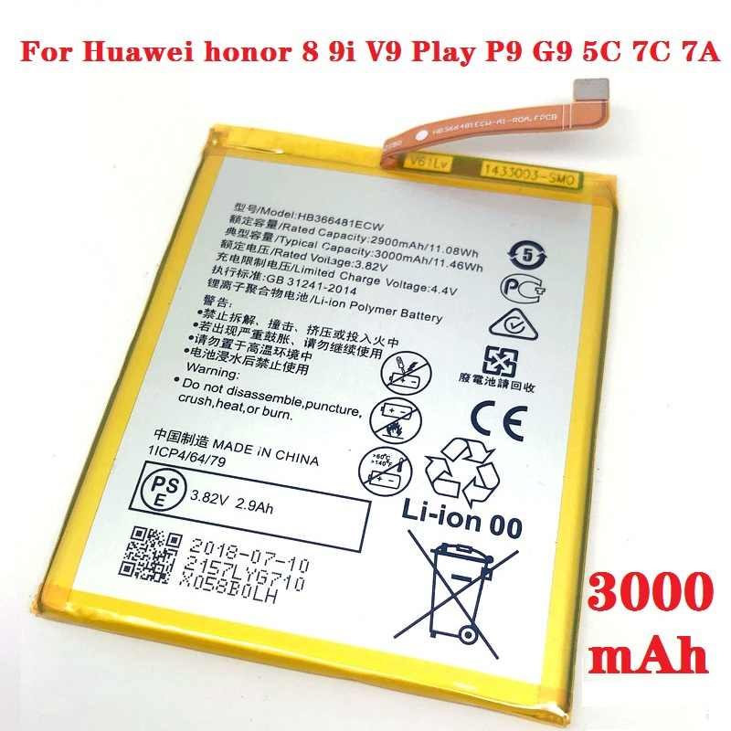 Hot HB366481ECW Battery For Huawei honor 8 9i V9 Play P9 G9 5C 7C 7A Enjoy 7S 8 8E Nova Lite 3E GT3  y6 II p20 p10 P8 lite 2017