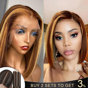 Ombre Highlight Wig 2*6 Deep Parting Lace Front Wig Straight Ombre Bob Wig Ombre Honey Blonde Short Bob Remy Lace Front Wig150%