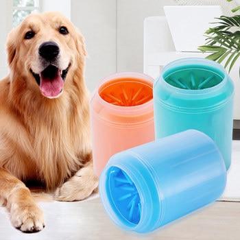 Taza de limpieza de pies de perro mascota, peines de silicona suave, herramienta de lavado de cubo portátil, pies de gato, limpieza de pies, peines de lavado de patas al aire libre