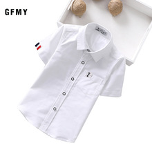 GFMY 2020 Summer Hot Sale Children Shirts Casual Solid Cotton Solid Color Blue White Short-sleeved Boys Shirts For 2-14 Years