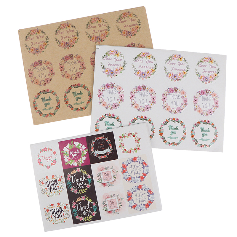 10Sheets Thank You Flower Seal Adhesive Sticker Packaging Baking Labels Pretty