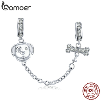 Bamoer Dog And Bone Safety Chain With Silicone Stopper For Original Bracelet 925 Sterling Silver Jewelry Making SCC1434