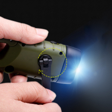 Hand Crank Generator Solar Flashlight LED Outdoor Camping Small Torch With Backpack Keychain Mountaineering Camping