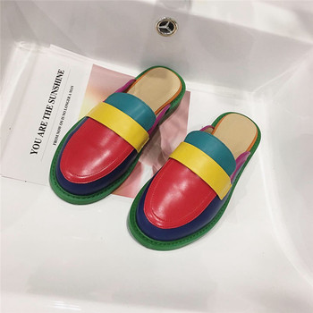 NIUFUNI Fashion Rainbow Color Women's Slippers Shallow Casual Slides Round Head Flat Shoes Slip On 2020 Summer Beach Shoes 1