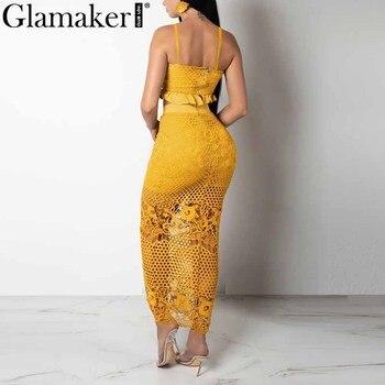 Glamaker Hollow out sexy yellow long dress Women white ruffle 2 piece maxi dress Bodycon split summer party beach dress elegant 2