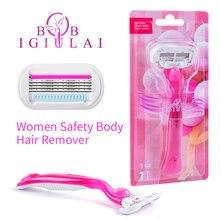 цена на Shaving Razor Safety Beauty Manual Stainless Steel Razor Blade Shaving Women 4 Layer Blades Shaver Razor Blades Replacement Head