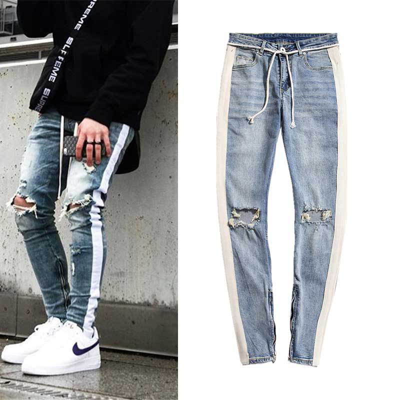 Men'S Wear New Products With Holes Tailoring Bars Zipper Trousers Slim Fit Men Skinny Jeans Long Pants