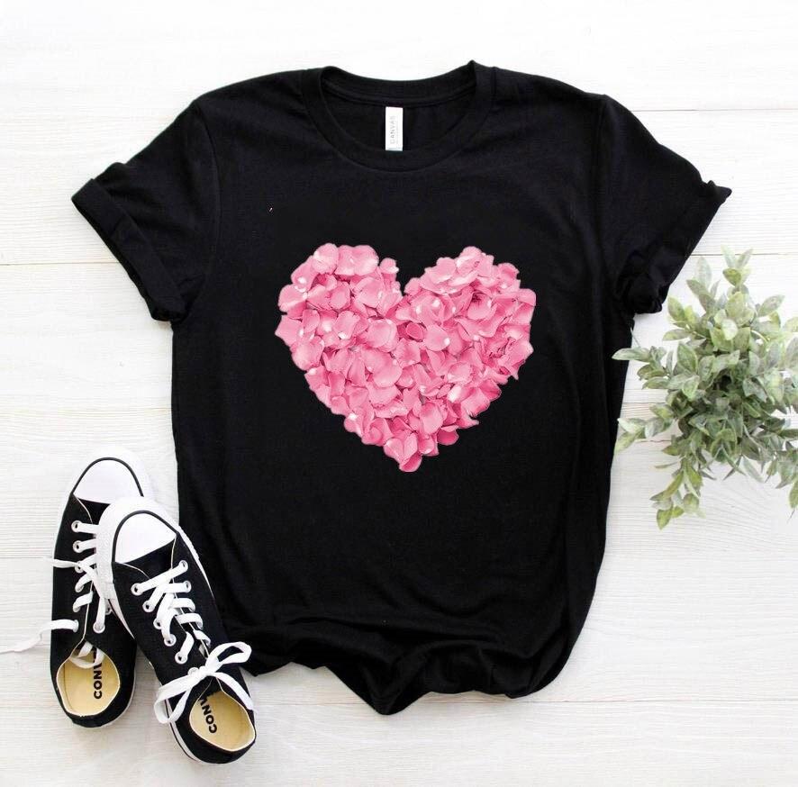 핑크 하트 플라워 프린트 여성 tshirt 코튼 캐주얼 재밌는 t 셔츠 선물 90s 레이디 용 소녀 드롭 선박 PKT-894