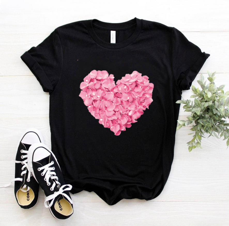 Pink Heart Flower Print Women Tshirt Cotton Casual Funny T Shirt Gift 90s Lady Yong Girl Drop Ship PKT-894