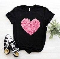 Camiseta con estampado de flores y corazón rosa para mujer, camiseta divertida e informal de algodón, regalo, años 90, para chicas, PKT-894