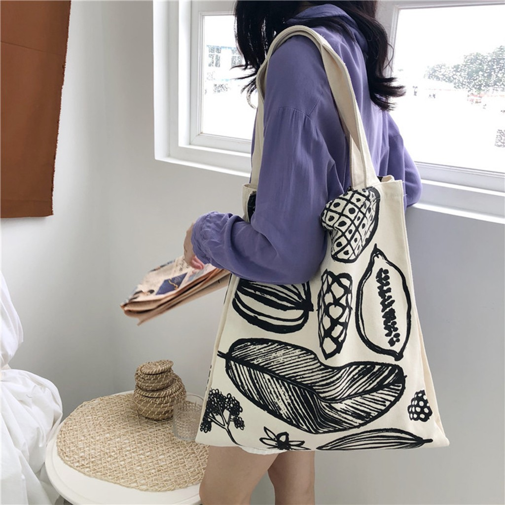 New Women's Cotton Canvas Bag Ladies Shopping Bag Letter Printing Large Capacity Foldable Tote Bags Bolsa Reutilizable Bolsa*