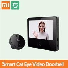 Xiaomi mijia campainha de vídeo inteligente, campainha de olho de gato sem fio com tela sensível ao toque de 5 polegadas e detector de movimento do pir mihome controle do aplicativo