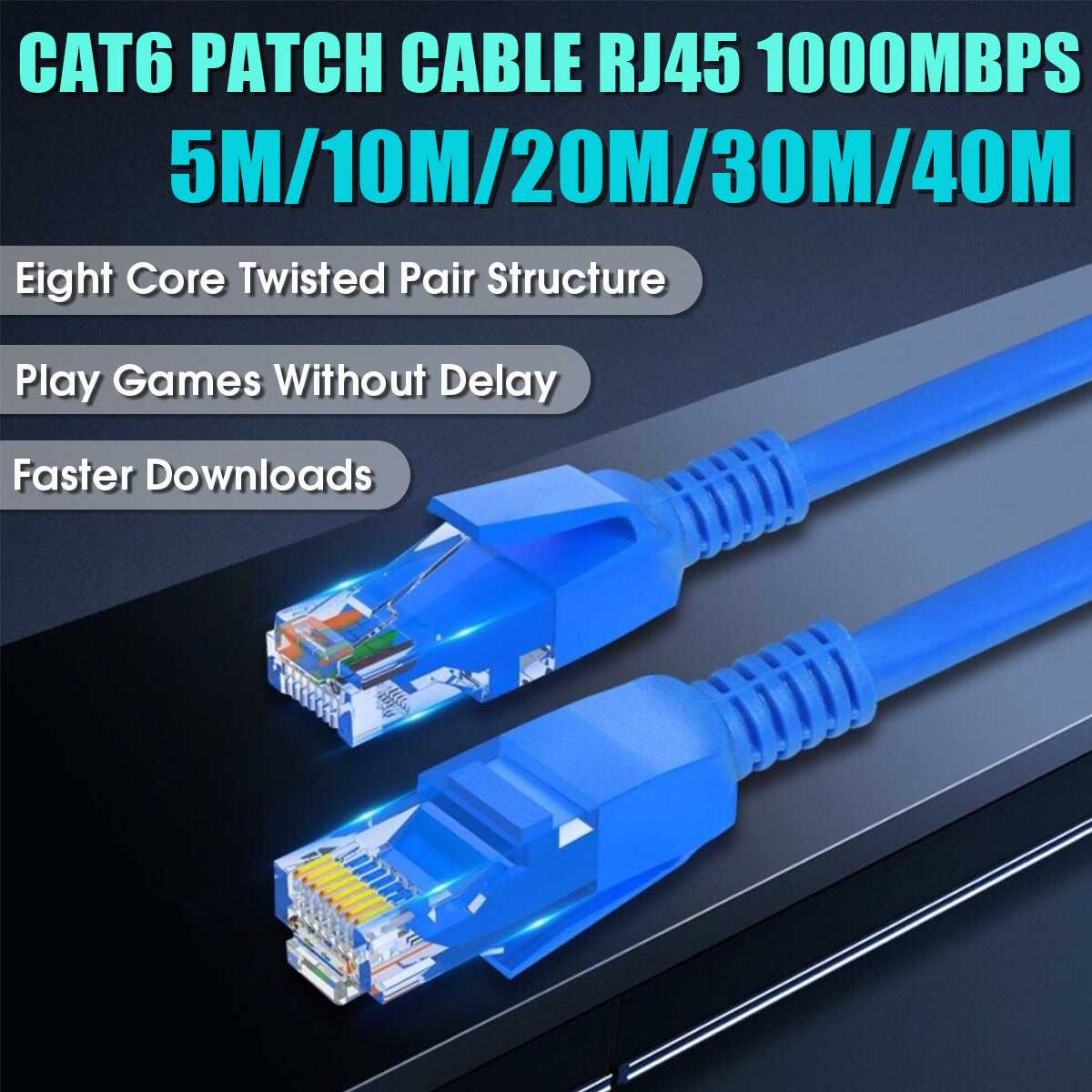 1M to 10M New CAT6 CAT 6 Flat UTP Ethernet Network Cable RJ45 Patch LAN Cord #1