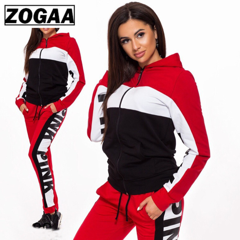 Red Color Blocking Jogging Suit For Women High Quality Cotton Polyester Hooded Running Suits With Zipper 2 Piece Fitness Sets