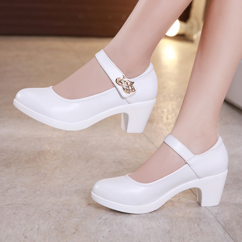 Plus Size 32-43  Block Heels Platform Shoes Women Pumps 2019 Black White Heels Mary Jane Shoes Ladies Wedding Shoes Bride