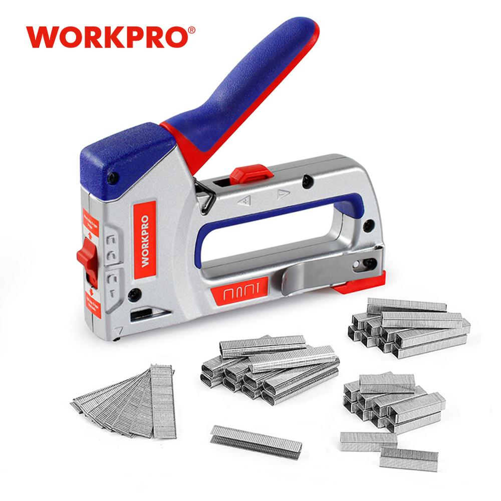 WORKPRO 4 IN 1 Heavy Duty Staple Gun for DIY Home Decoration Furniture Stapler Manual Nail Gun with 4000 Staples Nailer