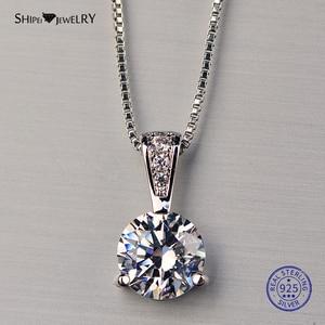Shipei 100%, 925 пробы, серебро, белое золото, созданная лаборатория, Муассанит, подвеска, ожерелье для женщин, девушек, подарок на Рождество, день р...