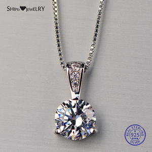 Shipei 100% 925 Sterling Silver White Gold Created Lab Moissanite Pendant Necklace for Women Girls Christmas Birthday Gift