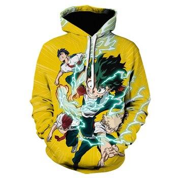 My Hero Academia Cosplay Todoroki Shoto Pullover Sweatshirts Boku no Hero Academia Izuku Midoriya Hoodies 3D japanese streetwear 1
